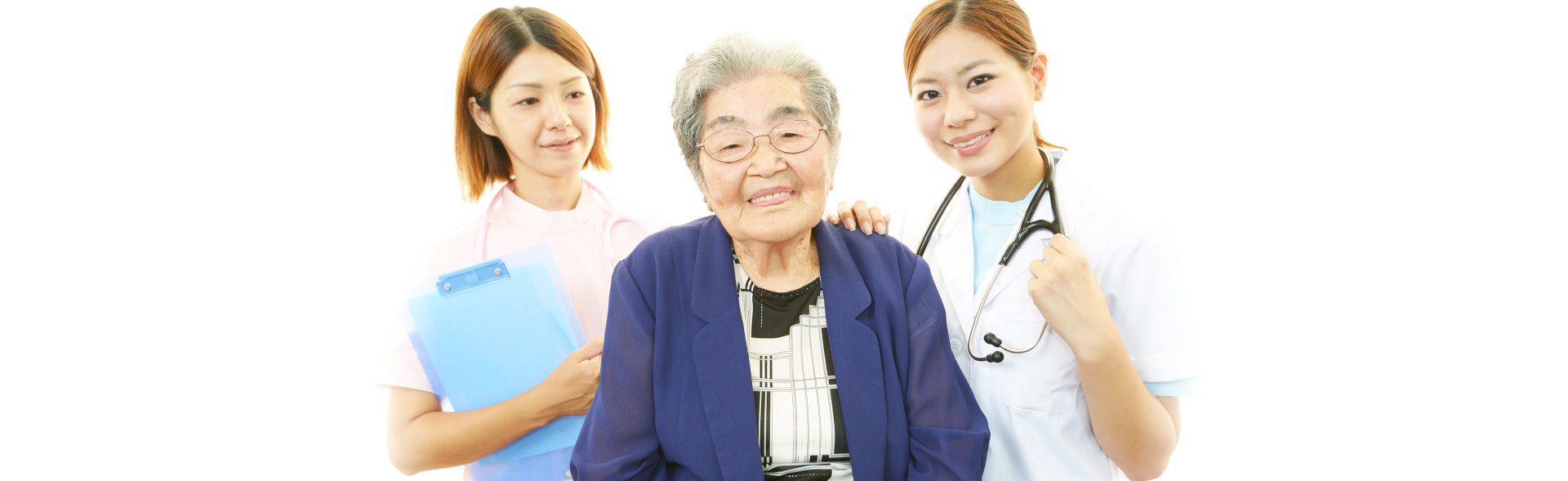 senior woman with her doctor and caregiver